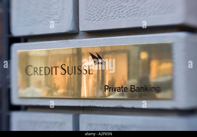 Switzerland Zurich credit suisse Bahnhofstrasse cash service sign - Stock Image