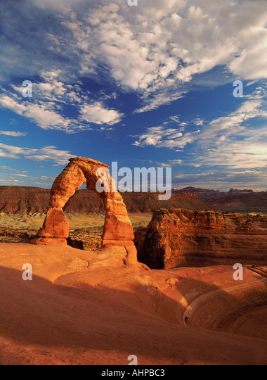 M00313M tiff Delicate Arch and clouds Arches National Park Utah - Stock Image