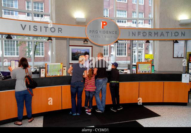 Rhode Island Providence Sabin Street Visitor Information Center centre family counter - Stock Image