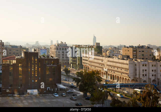 Amman city view of the streets. Amman the capital of Jordan spreads on seven hills - Stock Image