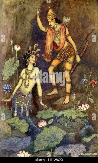 Indian myth and legend: Arjuna and the river Nymph. Illustration after a painting by Warwick Goble, English illustrator - Stock Image