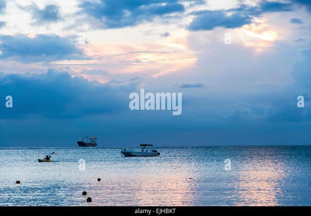 The beautiful sunset of Mauritius - Stock Image