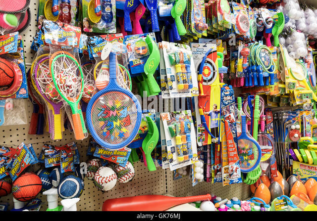 Florida Miami Coral Way Big Lots shopping retail company discount close-out store display children kids plastic - Stock Image