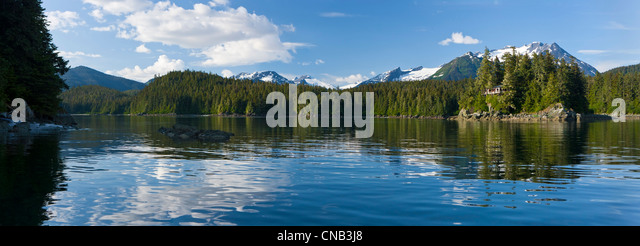 Panorama view of Amalga Harbor near Juneau, Inside Passage, Coast Range, Southeast Alaska, Summer - Stock Image