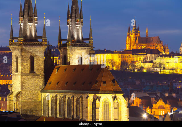 Overview of the Church of Our Lady of Tyn and Prague Castle, UNESCO World Heritage Site, Prague, Czech Republic, - Stock Image