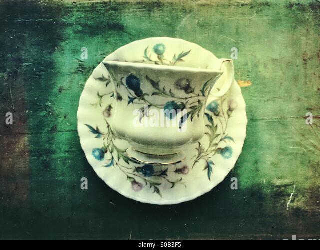 Vintage China teacup and saucer - Stock-Bilder