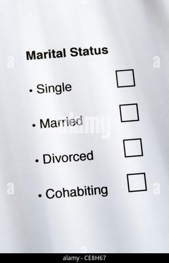 Marital status questionnaire. - Stock Image