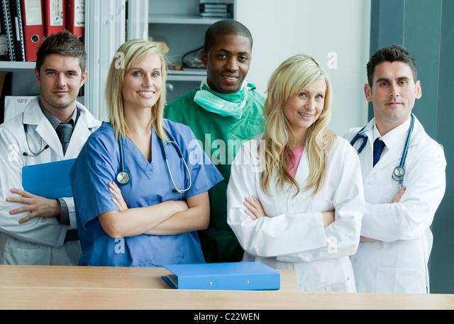 Portrait if an international medical team - Stock-Bilder