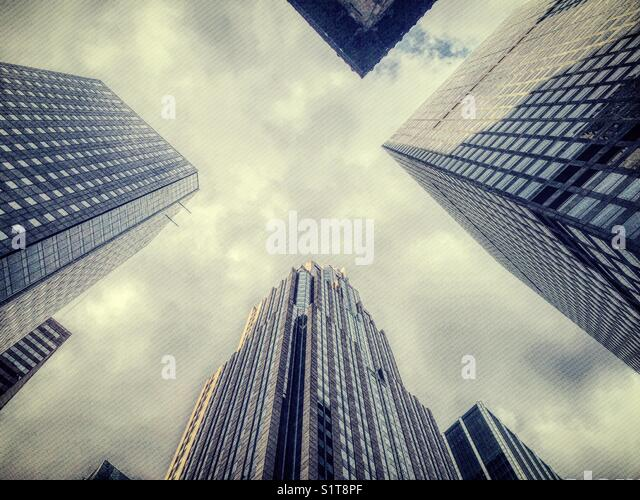 Grayscale of skyscrapers in New York City shot from below, NYC, USA - Stock Image