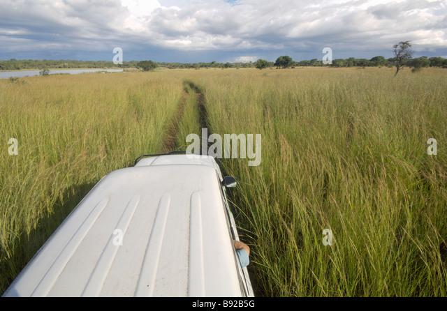 The view from on top of a vehicle Lake Chivero Mashonaland Zimbabwe - Stock Image
