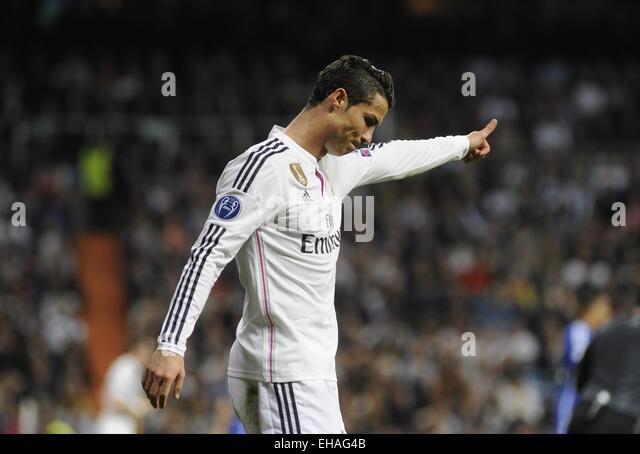 Madrid, Spain. 10th Mar, 2015. Real Madrid's Portuguese forward Cristiano Ronaldo celebrates his goal during - Stock-Bilder