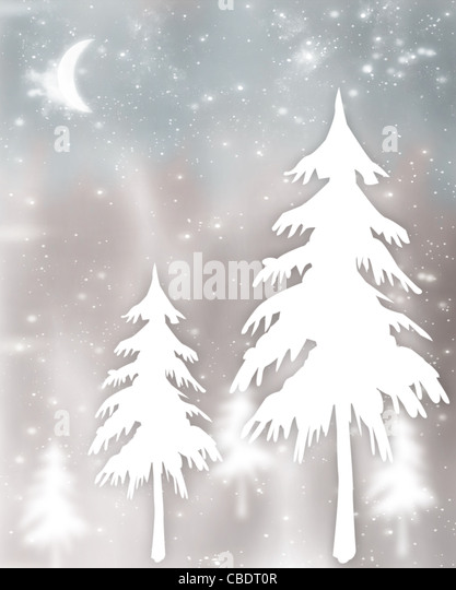 New Year tree abstract holiday background with winter ornament & defocus lights decoration - Stock Image