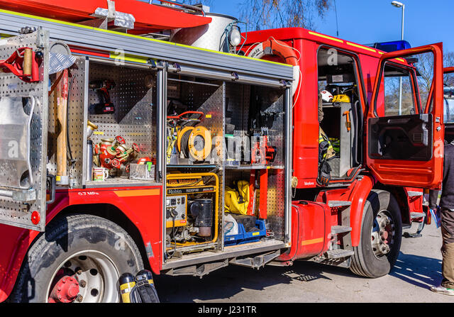 Brakne Hoby, Sweden - April 22, 2017: Documentary of public fire truck presentation. Lots of firefighting equipment - Stock Image