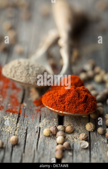 Two spoons with ground paprika and coriander - Stock Image