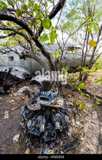 The wrecked engine of a DC-3 in the forest after crashing during WWII. - Stock Image