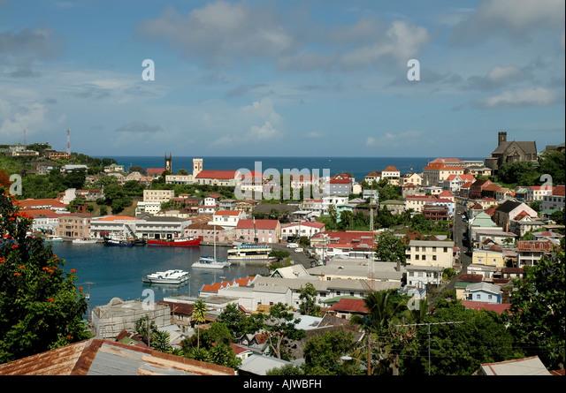 St George's grenada caribbean island skyline aerial overview scenic landscape - Stock Image