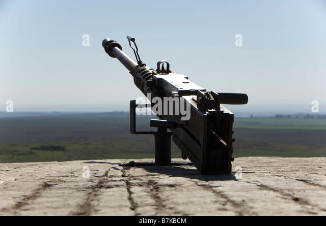 Heavy Machine Gun in Tel A-Saki in the Golan Heights - Stock Image