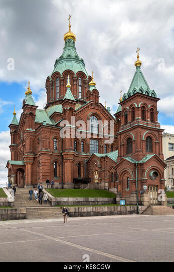 Uspenski Cathedral in the city of Helsinki in Finland. The Cathedral is on a hillside on the Katajanokka peninsula - Stock Image