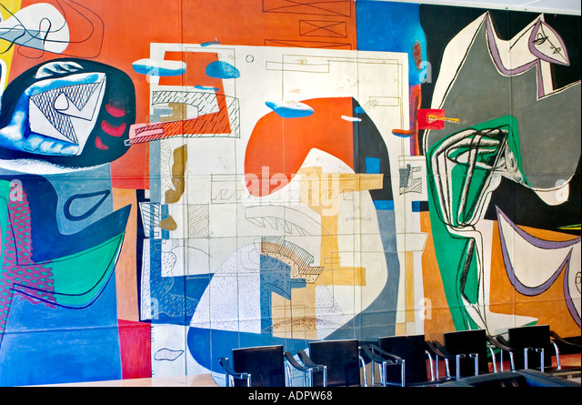 Paris France Modern Art 'The Swiss Pavilion' The International University Campus of Paris Painting bu Le - Stock Image