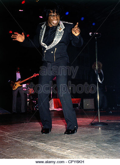 Brown, James, 3.5.1933 - 25.12.2006, US singer, full length, during a concert in Munich, Germany, 1988, singing, - Stock Image