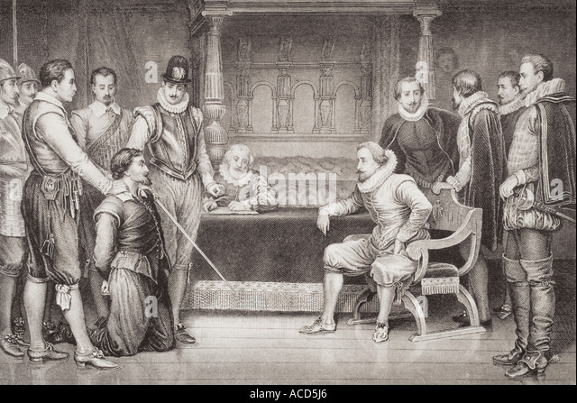 The Gunpowder Plot Guy Fawkes interrogated by James I - Stock Image