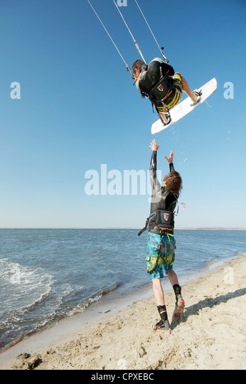 Kite surfer in Black sea, Ukraine - Stock Image