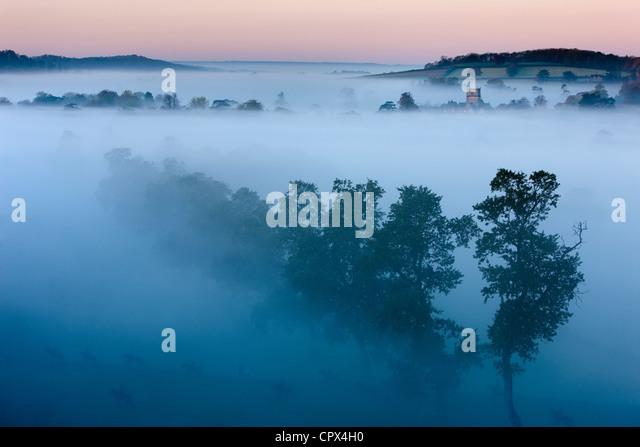 a misty autumn morning, Milborne Port, on the Dorset/Somerset Border, England UK - Stock Image