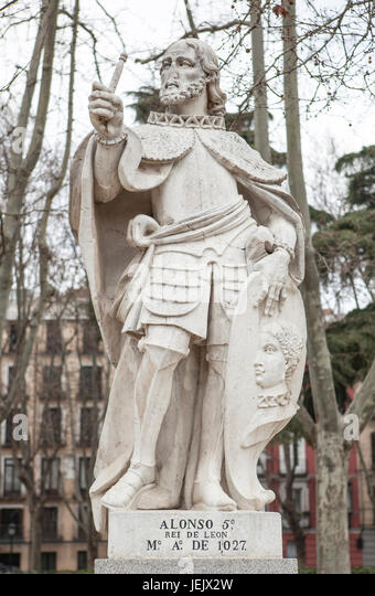 Madrid, Spain - february 26, 2017: Sculpture of Alfonso V King at Plaza de Oriente, Madrid. He was King of Leon - Stock Image