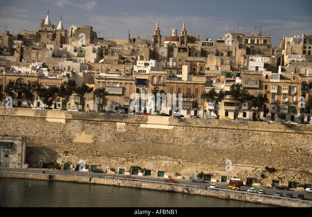 Malta Valetta Grand Harbour 16th Century fortified planned city once home to Knights of St. John - Stock Image