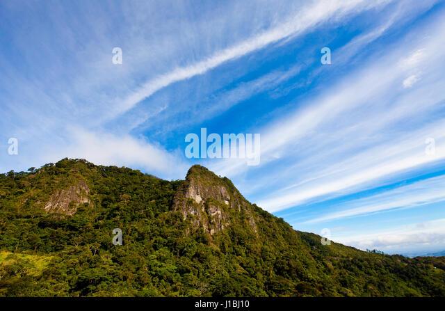 Beautiful skies over Cerro la Cruz in Altos de Campana National Park, Republic of Panama. - Stock-Bilder