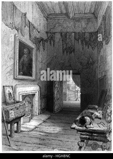 An engraving of Queen Mary's Closet, Holyrood (Scene of the Murder of Rizzio) scanned at high resolution from - Stock Image