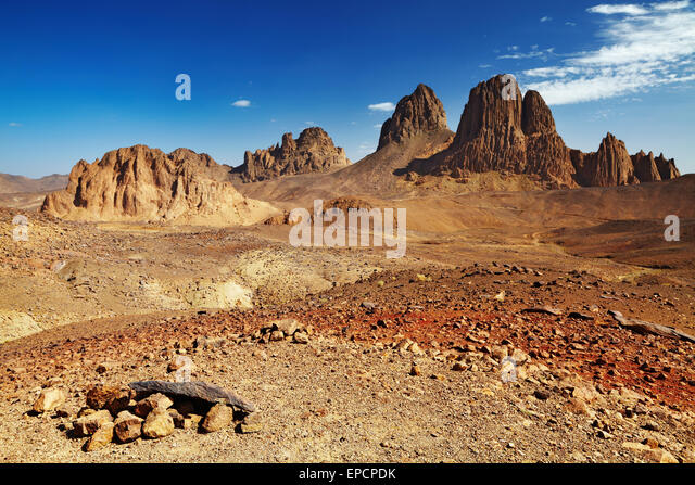 Rocks in Sahara Desert, Hogar mountains, Algeria - Stock Image
