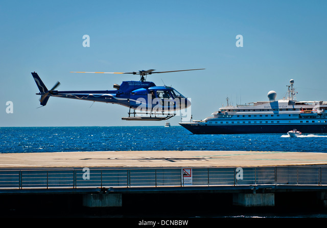 Helicopter landing of sea service, Cannes, French Riviera, France - Stock Image