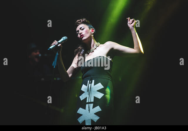 December 12, 2015: The Italian singer Nina Zilli performing live on stage at the Teatro Colosseo for her 'Frasi - Stock Image