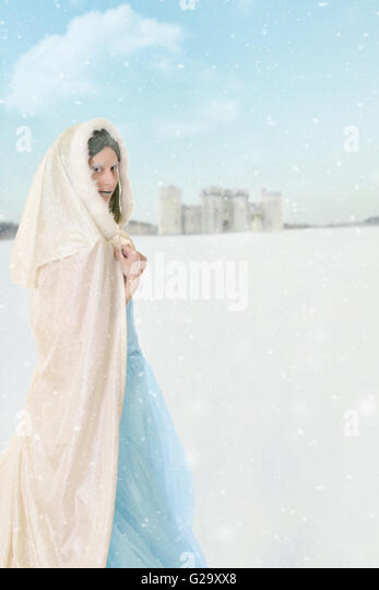 winter princess in the snow - Stock Image