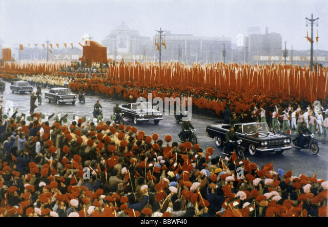 geography / travel, China, politics, mass rally during arrival of Prince Sihanouk of Cambodia, Shanghai, 1971, Asia, - Stock Image