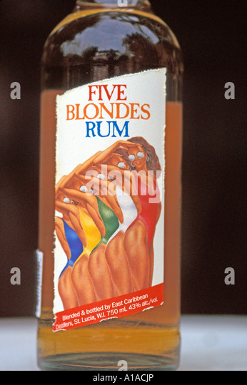 St Lucia Five Blondes Rum bottle - Stock Image