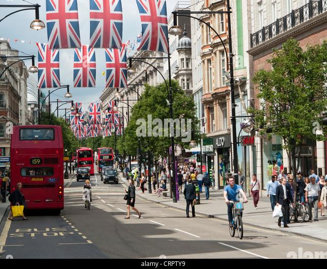 People in Oxford Street London in Britain - Stock Image