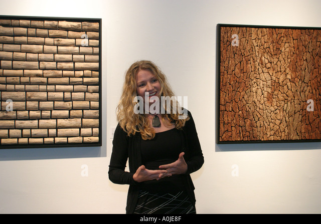 Cleveland Ohio Colonial Marketplace ArtCade gallery reception artist speaks lectures - Stock Image