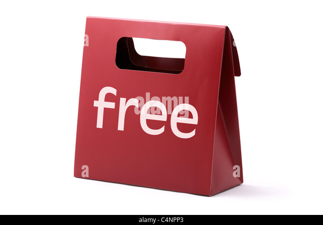 Red elegance carton bag with FREE word isolated on a white background. - Stock Image