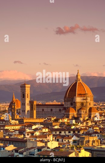 Elevated View, Duomo & Campanile, Florence, Tuscany, Italy - Stock Image
