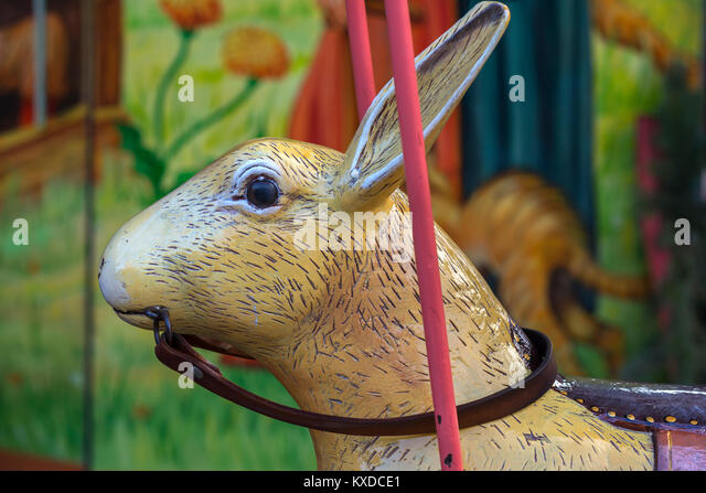 Hare head of a nostalgic children's carousel,Franconia,Bavaria,Germany - Stock Image