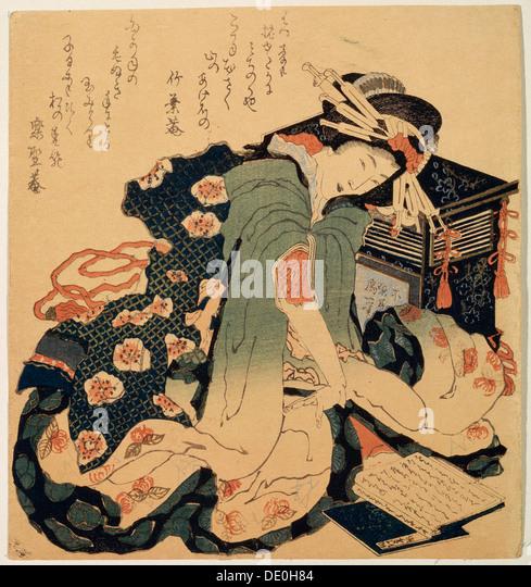 'Reading', c1822.  Artist: Hokusai - Stock Image