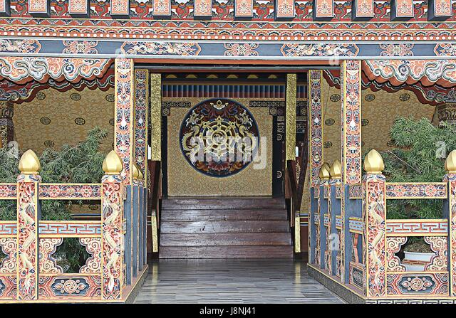 Entrance of a Temple in Bhutan - Stock Image