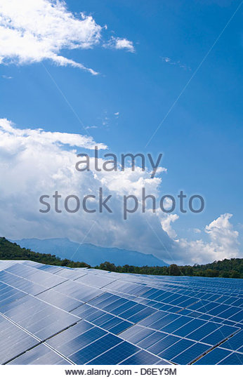 Solar panels cells park energy power Corsica - Stock Image