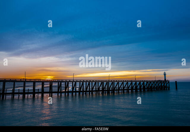The pier that reaches deep into the sea - Stock Image