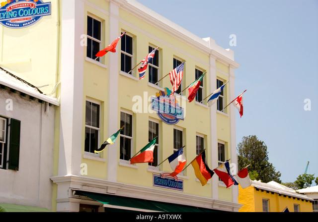 Bermuda Hamilton Front Street shops Flying Colours - Stock Image