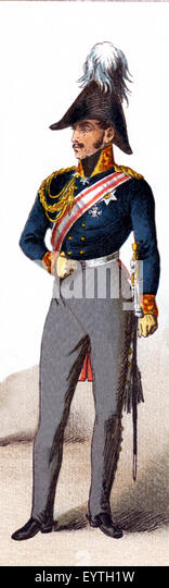 The figure pictured here represents a Prussian general in the early 1800s. The illustration dates to 1882. - Stock-Bilder