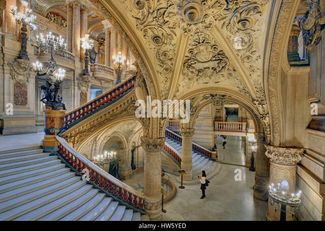 France, Paris, Garnier opera house, the stairway - Stock Image