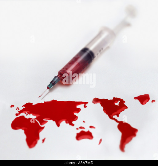 Syringe and a world of blood - Stock Image